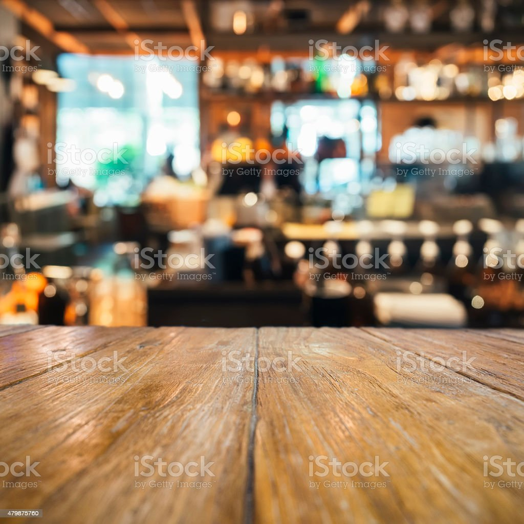 Table top counter with Blurred bar background stock photo