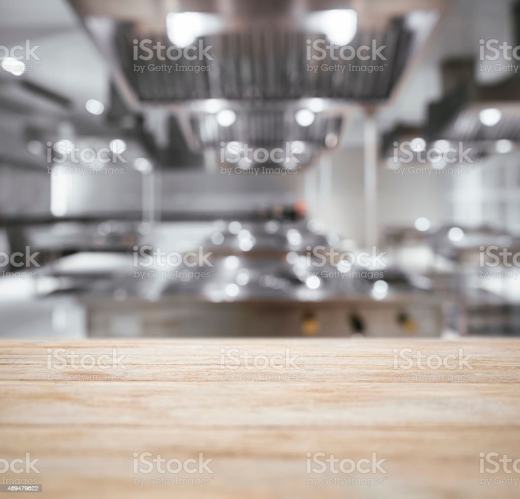 Table top Counter with Blurred Kitchen Background stock photo