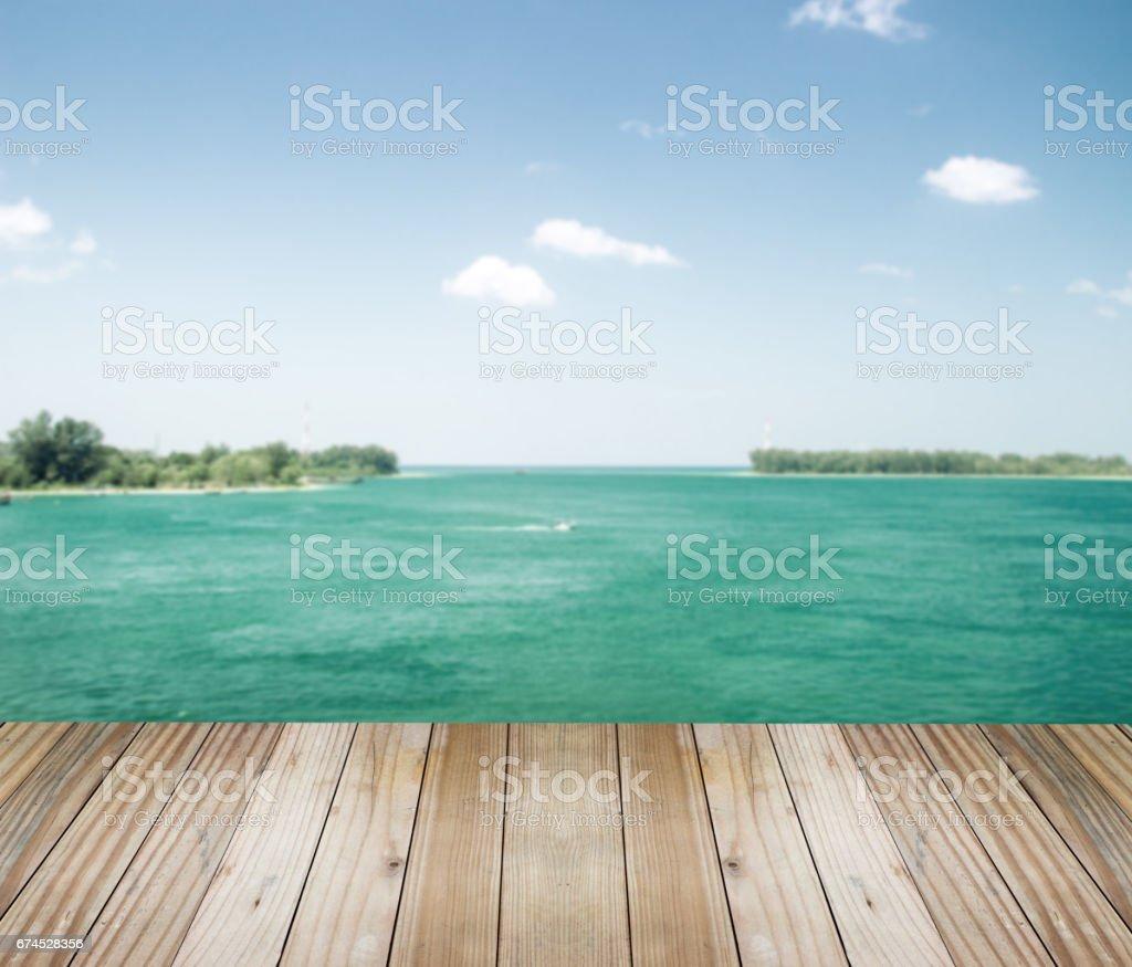 table top modern wood on ocean stock photo