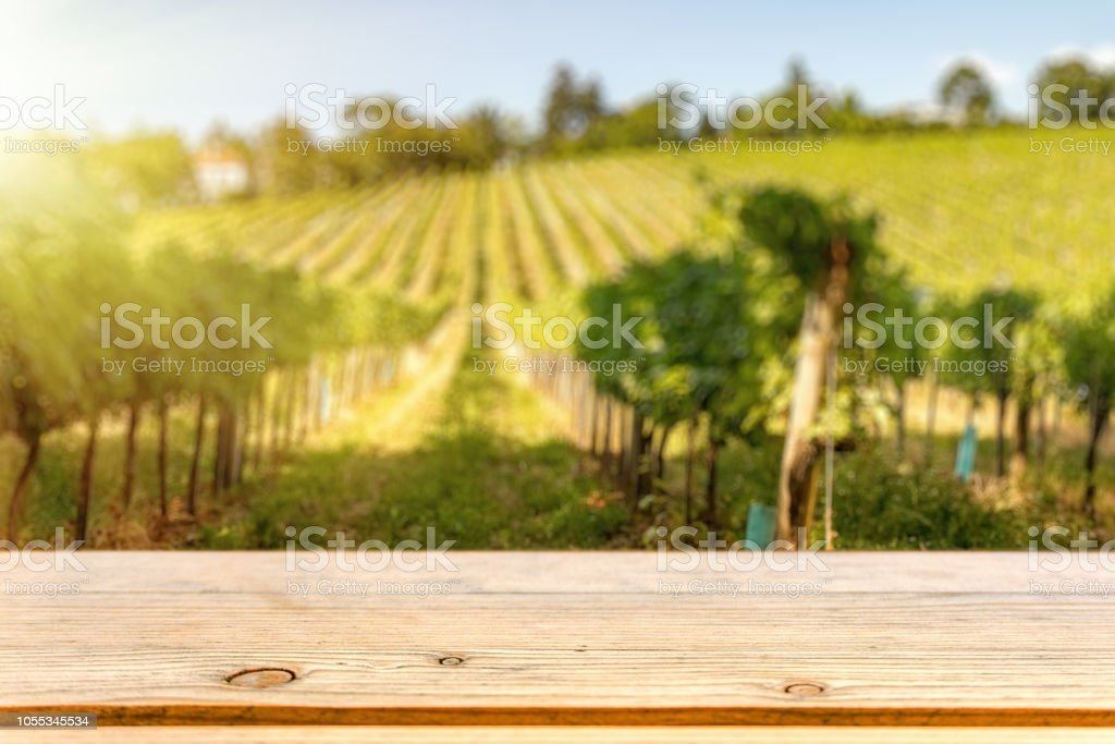 Table top template against vine hill stock photo