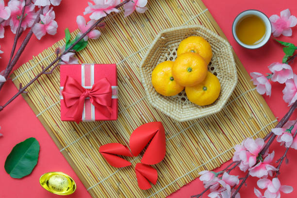 table top view aerial image of chinese lunar new year background conceptbeautiful gift