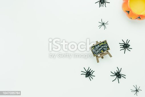 1057069236 istock photo Table top view aerial image of decoration Happy Halloween day background concept.Flat lay accessories essential object to sign the pumpkin & content and spider on white wooden.Space for design text. 1047035764