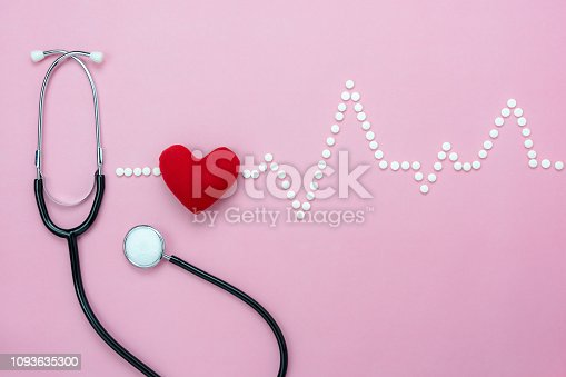 istock Table top view aerial of accessories healthcare & medical background concept.Red heart & stethoscope with design heart wave by medicine on pink paper.Flat lay of idea for doctor treat & care patient. 1093635300
