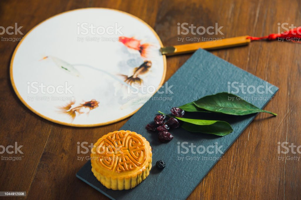 Table top view of decoration Chinese Moon Festival background concept stock photo