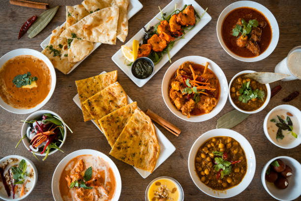Table top view of Indian food. stock photo