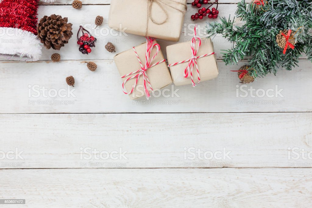 Table top view of ornaments and decoration  Merry Christmas and Happy New Year.several sign item on modern rustic white home office desk.space for creative design text and word.object for seasonal. stock photo