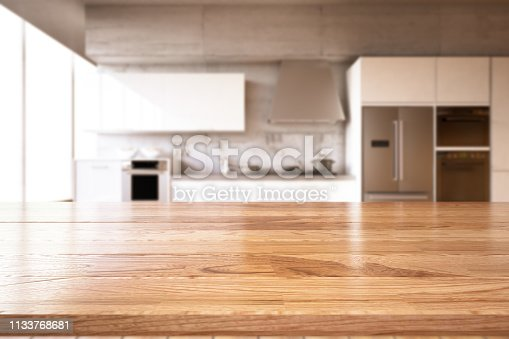 Empty wooden kitchen countertop