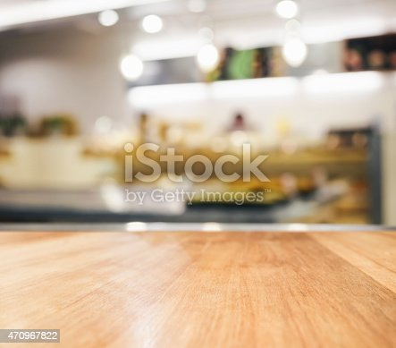 istock Table top with Blurred kitchen Interior Background 470967822