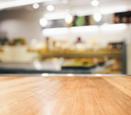 Table Top With Blurred Kitchen Interior Background Stock ...