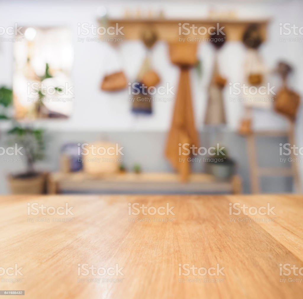 Table Top Wooden Counter Blurred Kitchen Background Stock Photo Download Image Now Istock