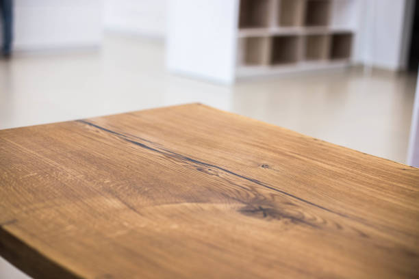 Table tops of solid oak and ash. Making furniture. Table tops of solid oak and ash. Making furniture. table stock pictures, royalty-free photos & images