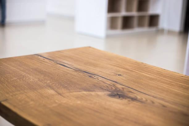 table tops of solid oak and ash. making furniture. - table imagens e fotografias de stock