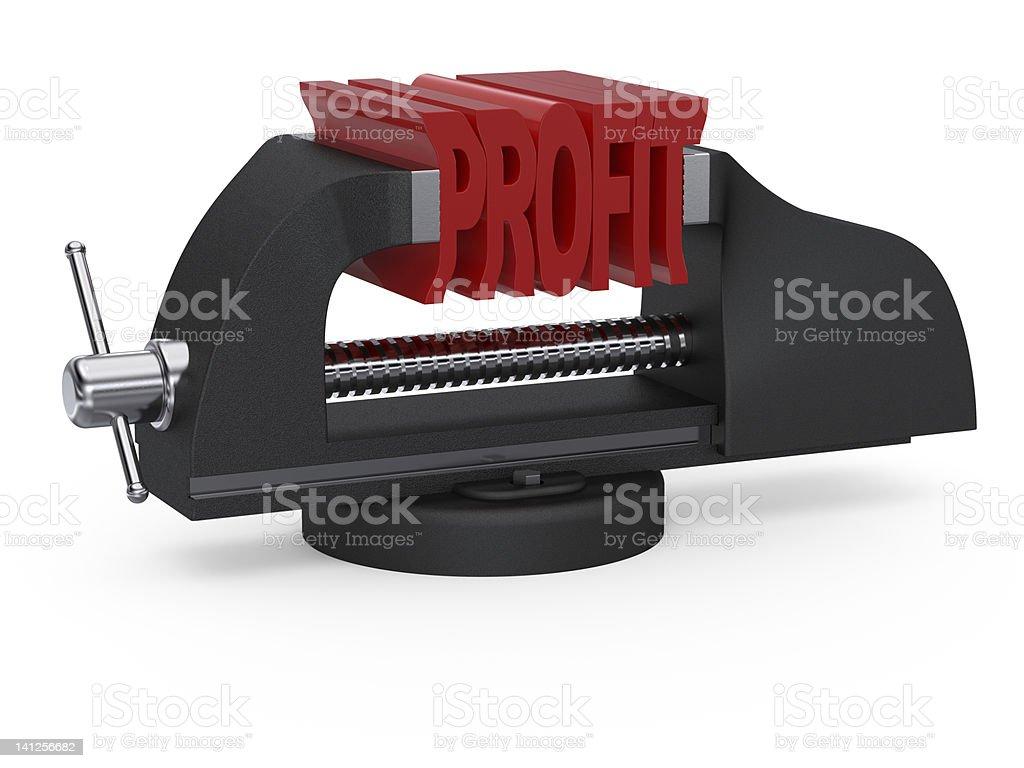 Table vise squeezing profit stock photo