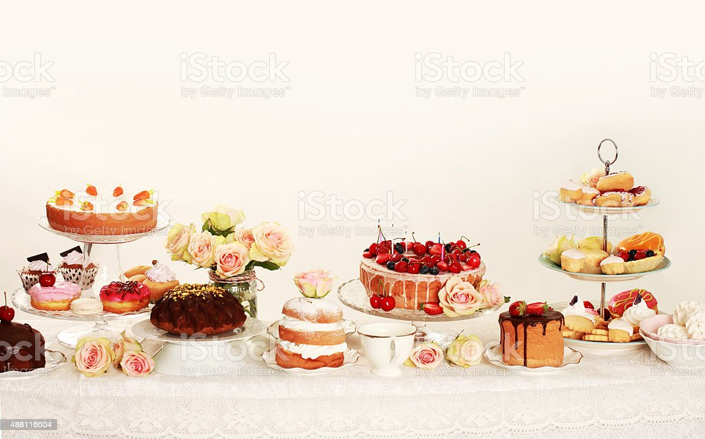 Table with cupcakes stock photo