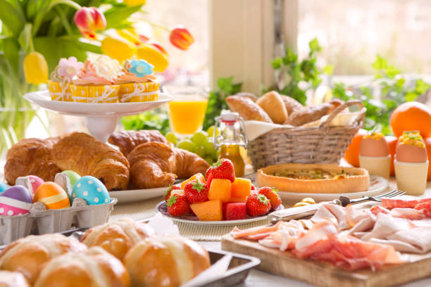 Table with delicatessen ready for Easter brunch stock photo