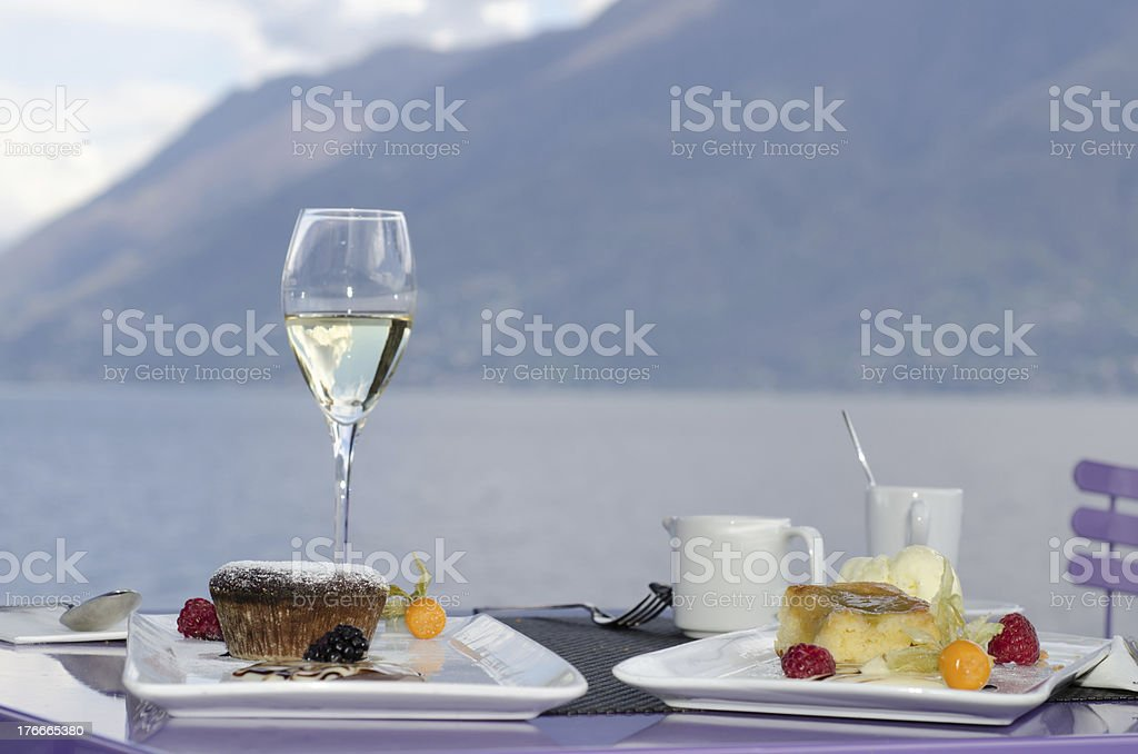 Table with dessert stock photo