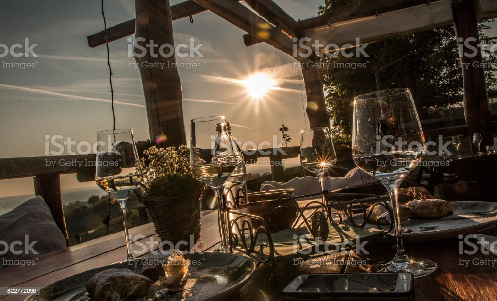 Table with drink and food stock photo