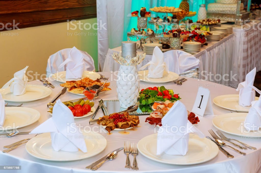 Table with food and drink royalty-free stock photo