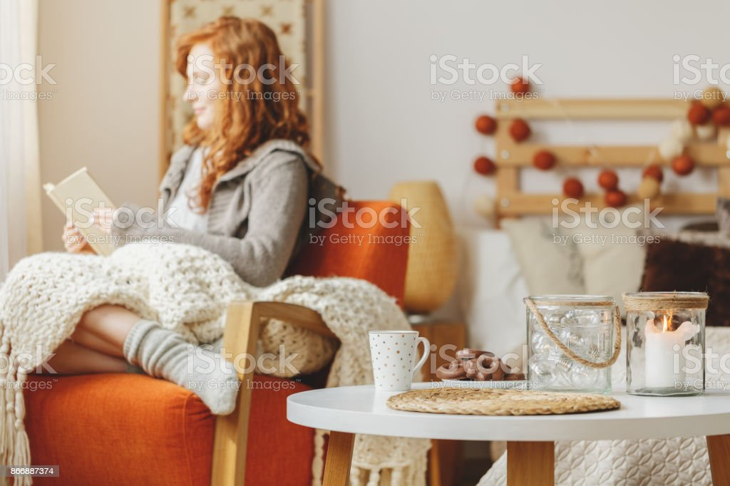 Table with gingerbread and tea stock photo