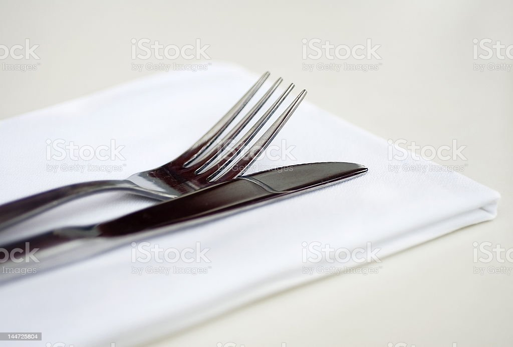 Table with Knife, Fork and Napkin royalty-free stock photo