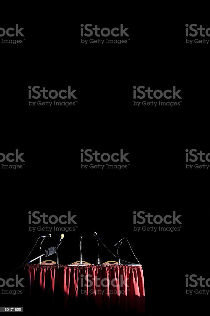 A table with microphones on it royalty-free stock photo