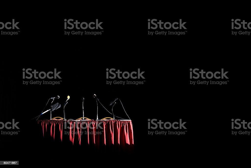 A table with microphones on it royalty-free 스톡 사진