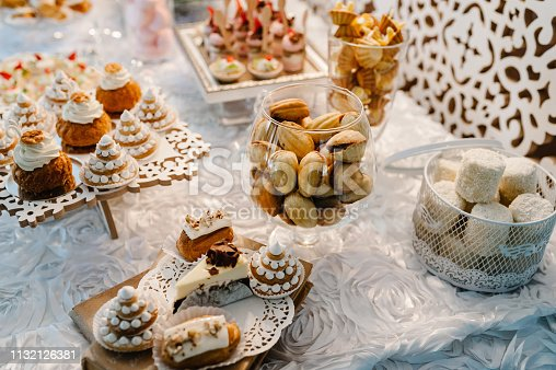 992836992 istock photo Table with muffins, cakes, sweets, candy, buffet. Dessert table for a party goodies for the wedding banquet area. Close up. candy bar. Decorated delicious. 1132126381