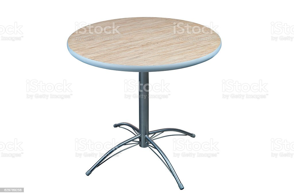 Table with round laminate top and stainless steel base. stock photo