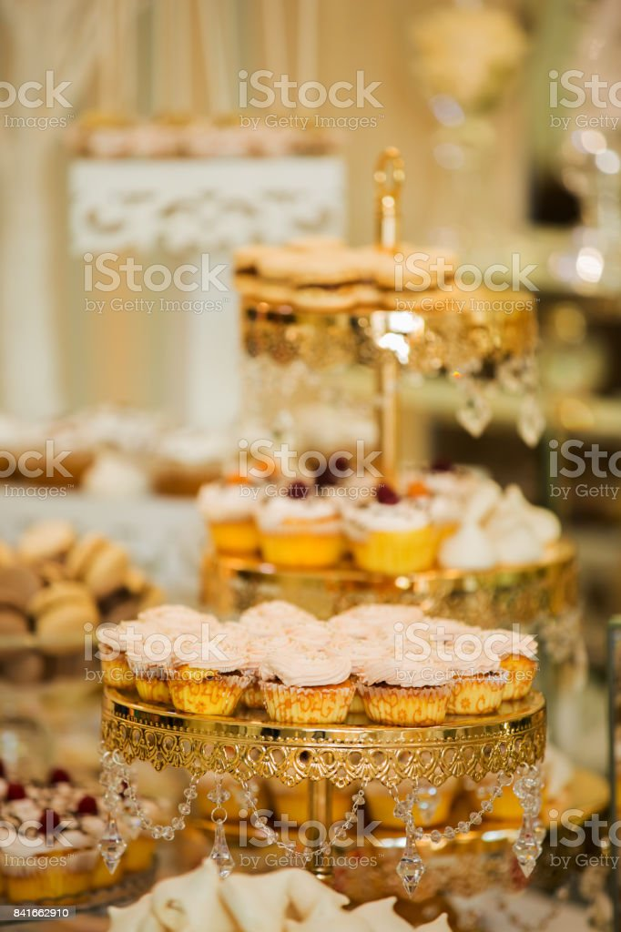 Table With Sweets Prepared For Party Candy Bar Delicious Sweet ...