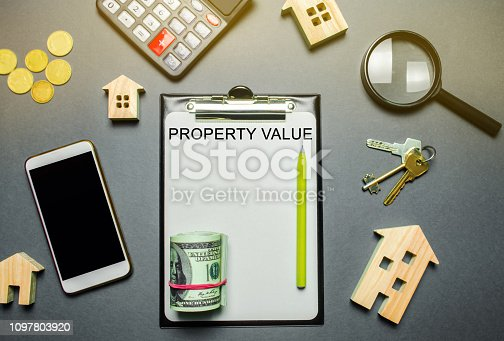 915688450 istock photo Table with wooden houses, calculator, coins, magnifying glass with the word Property value. The contract for real estate appraisal. Rate the property. Valuation house. Appraisal Services. Flat lay 1097803920