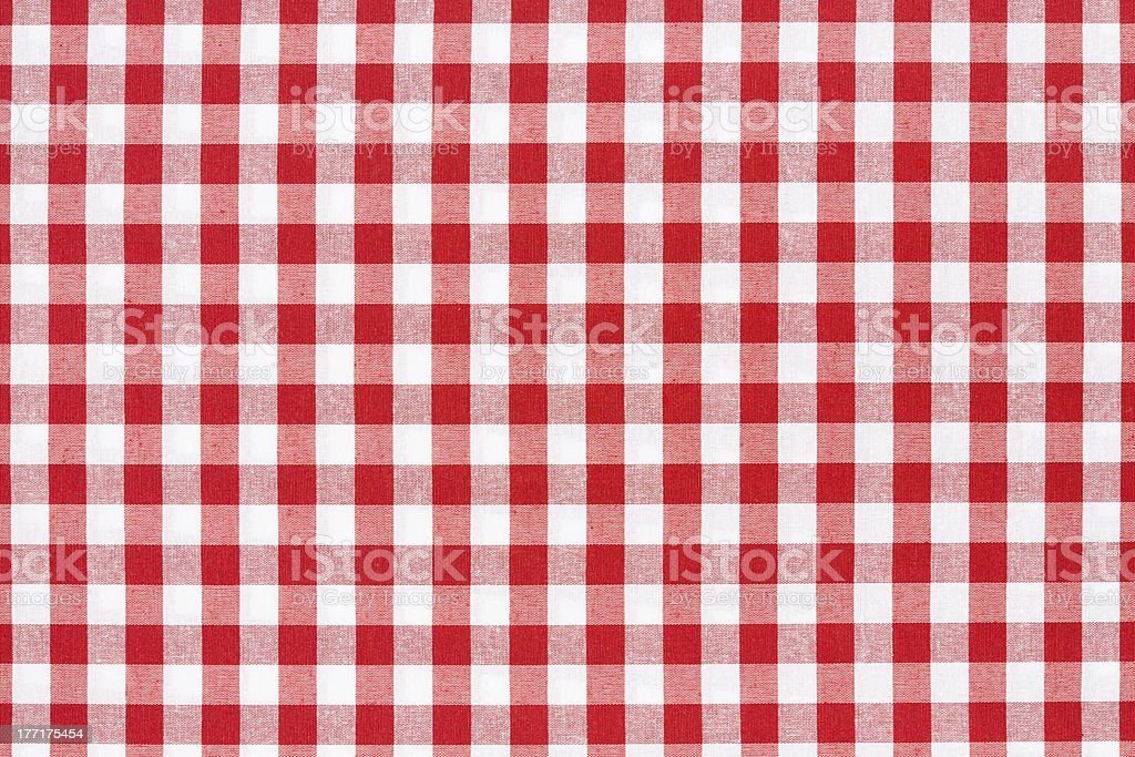 Tablecloth checked red and white texture background stock photo