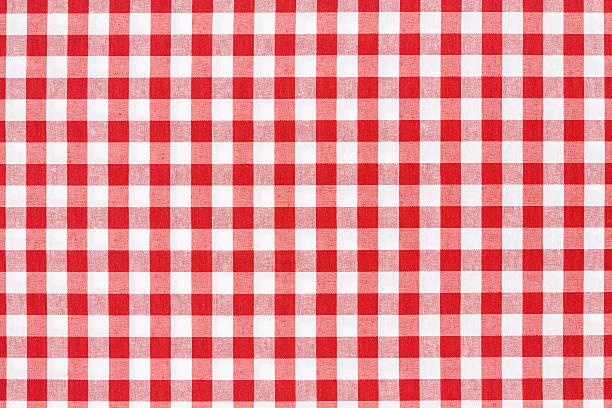 Manteles a cuadros blanco y rojo textura de fondo - foto de stock