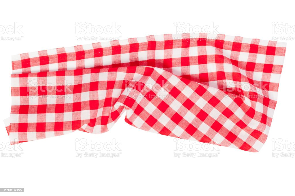 Tablecloth, Checkered isolated on white background stock photo