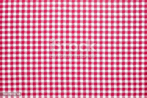 Tablecloth checkered red and white texture background, Napkin in red and white cage