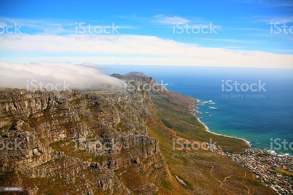 Tablecloth on Table Mountain, Cape Town, South Africa stock photo