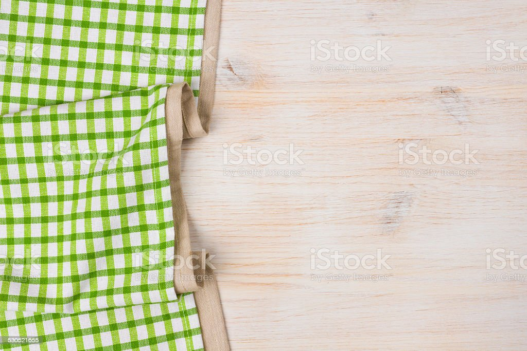 Tablecloth textile on bleached wooden background stock photo