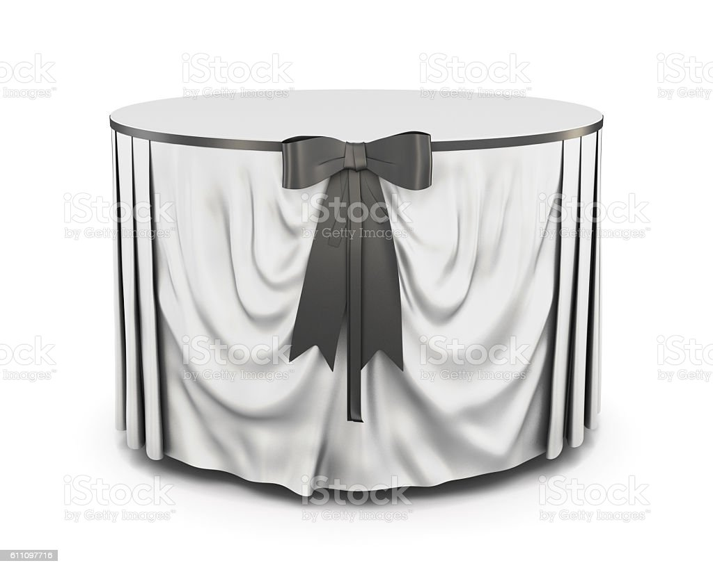 Tablecloth with bow isolated on white background. 3d render imag stock photo