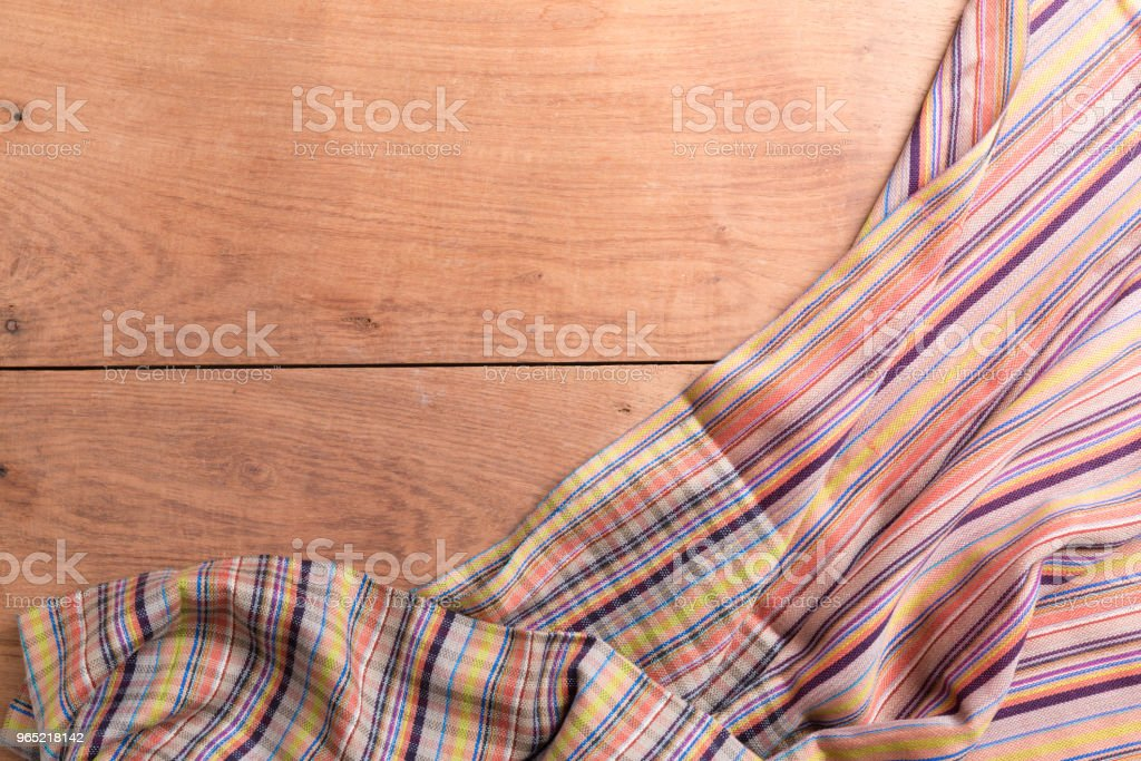 Tablecloths on the wooden table background royalty-free stock photo