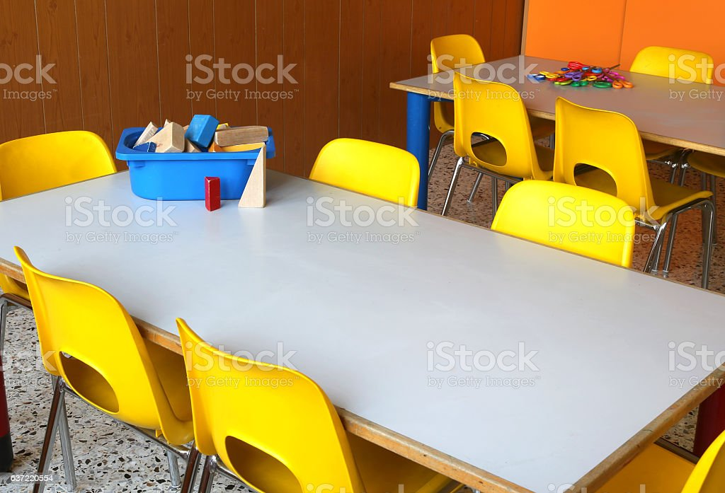 Picture of: Tables And Chairs In The Classroom Of Kindergarten Stock Photo Download Image Now Istock