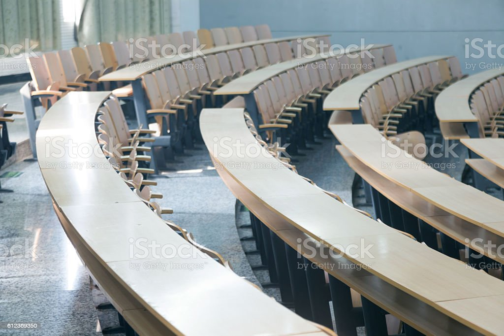 tables and chairs in the classroom stock photo
