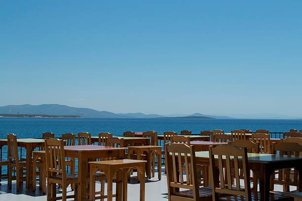 Tables and Chairs with Sea View stock photo