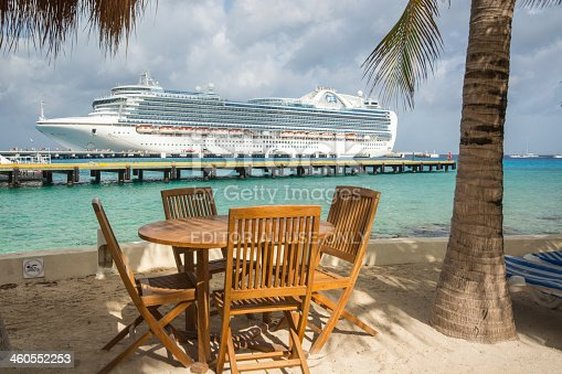 istock Tables and Palm Trees await Cruise Passengers 460552253