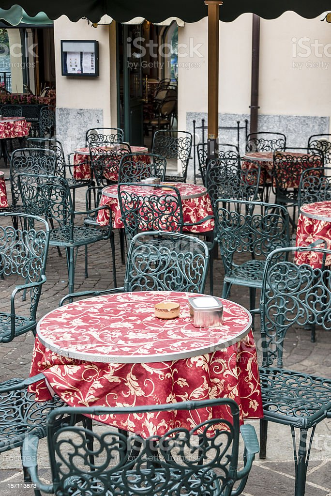 Tables at an outdoor restaurant -XXXL royalty-free stock photo