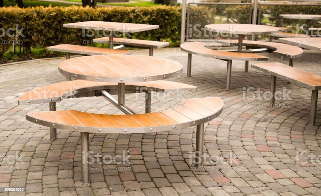Tables in a cafe in the park stock photo