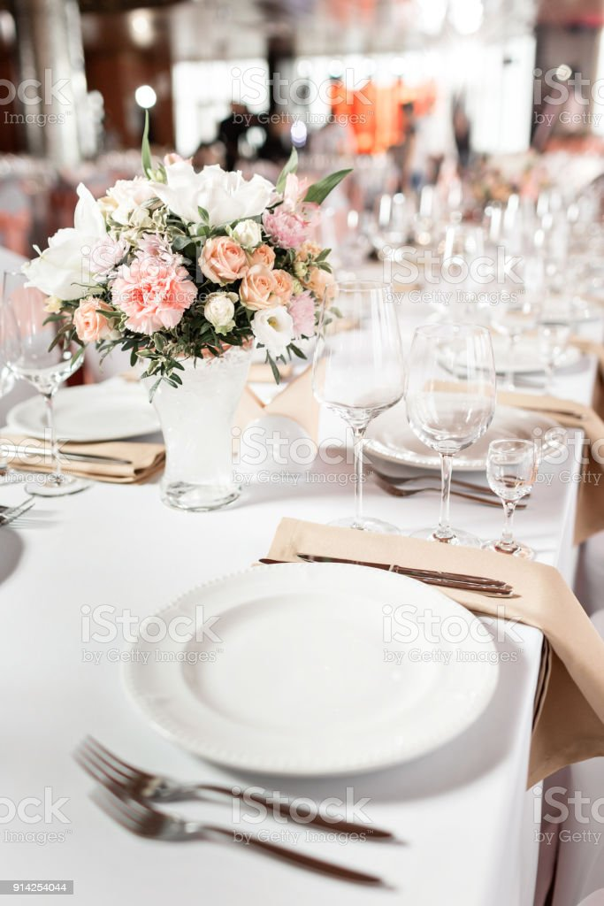 Tables Set For An Event Party Or Wedding Reception Luxury Elegant ...