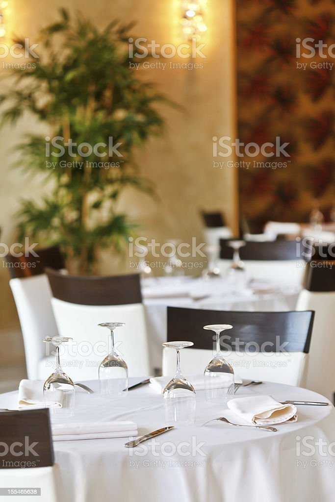 Tables set for meal royalty-free stock photo