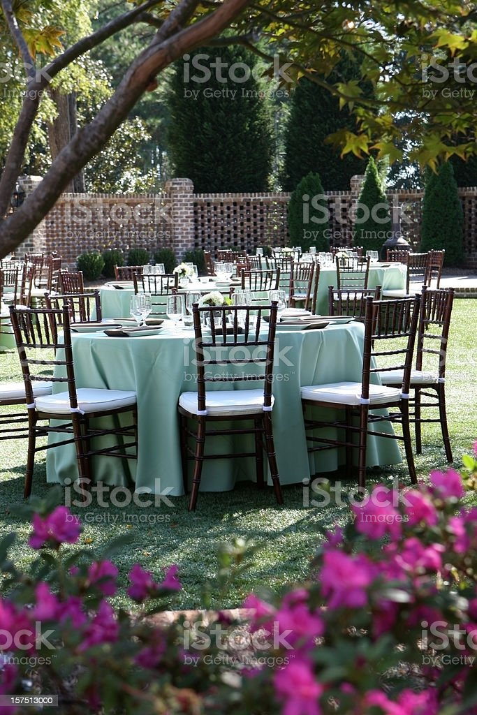 Tables set up for wedding reception. royalty-free stock photo