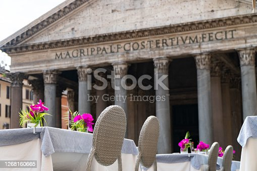 tables set with flowers in front of the pantheon