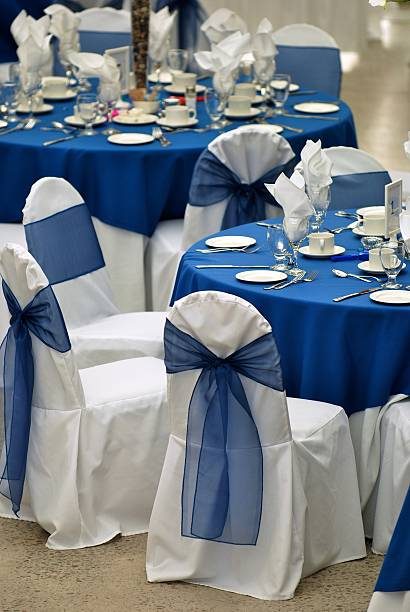 tables setting - blue table setting stock photos and pictures