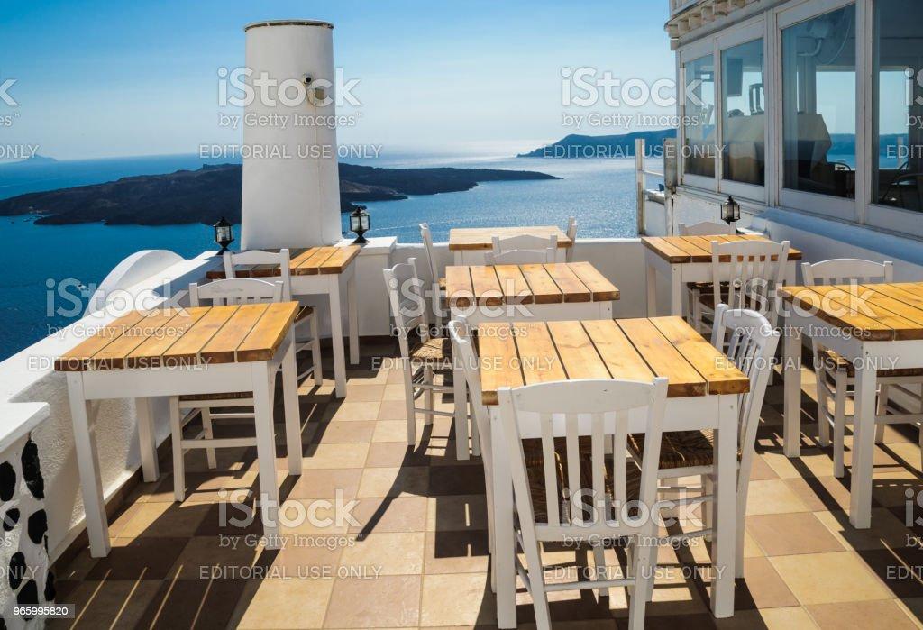 Tabellen met uitzicht - Royalty-free Blauw Stockfoto